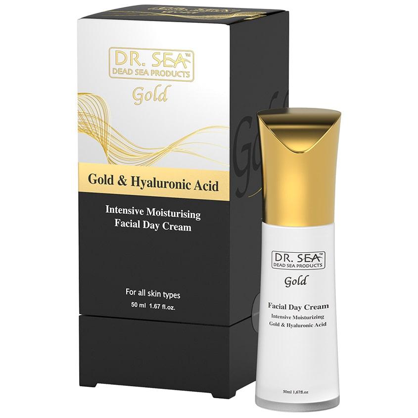 Глубокоувлажняющий регенерирующий крем для лица с коллоидным золотом и гиалуроновой кислотой, DR. SEA.